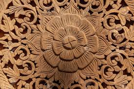 asian wood carved with flower ornament design stock photo picture
