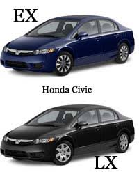 difference between honda civic lx and ex difference between