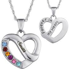platinum heart necklace images Personalized family name birthstone heart necklace jpeg