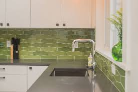 green kitchen backsplash tile green elongated hex backsplash pratt larson