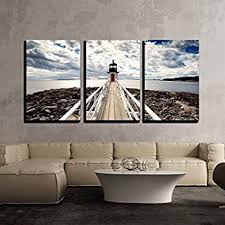 amazon com wieco art portland lighthouse 5 panels modern canvas