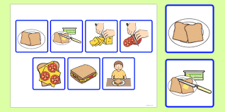 step sequencing cards making a sandwich sequencing cards