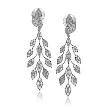 dimond earings 18k white gold contemporary chandelier earrings duchess collection
