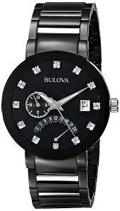 amazon com bulova men u0027s 98d109 diamond accented black stainless