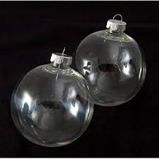 of 32 clear plastic ornaments the