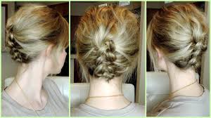step by step braid short hair easy dutch braid updo for short to medium hair youtube