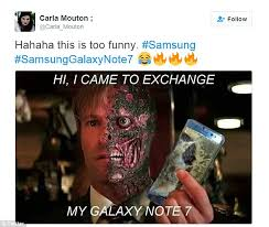 Samsung Meme - samsung galaxy note 7 mocked on twitter after company axes