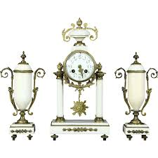 Large Silver Mantel Clock French Marble Antique Mantel Clock Set Signed Astra From