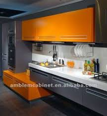 Contemporary Kitchen Design Inspiration Orange Walls Gray - Orange kitchen cabinets