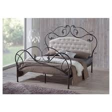 Tufted Bed Queen Ariana Retro Modern Iron Metal Platform Base Bed Frame With Tufted