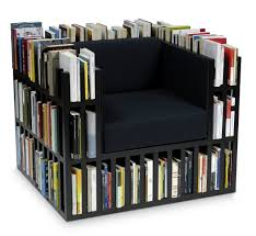 cubical black fabric upholstered chair with bookshelves storage