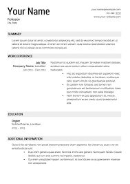 Resume Templates Free Resume Template Exle Resume Templates Resume 85 Free