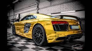 Audi R8 Gold - dia show tuning audi r8 gold chrom folierung by check matt