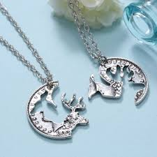 buck and doe couples necklace 52 couples puzzle necklace engraved puzzle necklace for couples