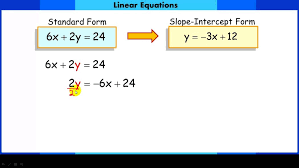 converting linear equations from standard form to slope intercept