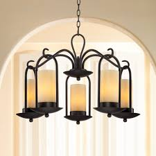 Outdoor Iron Chandelier Onyx Faux Stone Candle 30