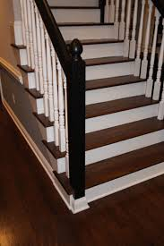 Laminate Wood Flooring On Stairs Jacobean Stained Floor U0026 Stair Treads With White Spindles And