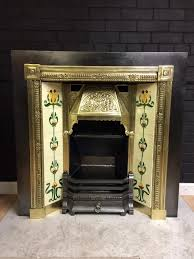 period brass u0026 cast iron tiled insert fireplace surround in
