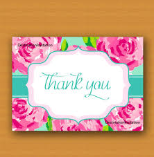 lilly pulitzer inspired thank you card