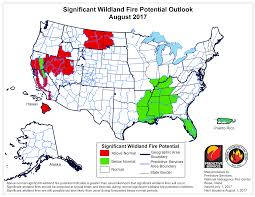 Wildfire Areas by Regional Wildfire Forecasts July August 2017