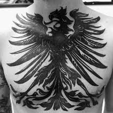 blackwork guys german eagle chest tattoos designs