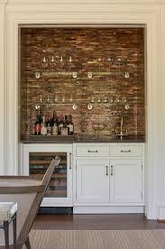 bar living room living room wet bar nook with copper mosaic tile backsplash