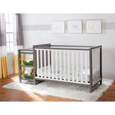 Gray Convertible Cribs by Bedroom Alemis White Crib Changer Combo Wtih Grey Wall And Fancy