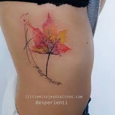 watercolor leaf tree tattoo by jess hannigan tattoos pinterest