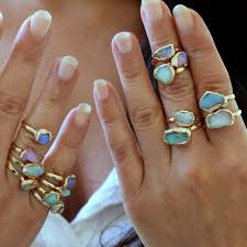 gem stone rings images Raw opal ring opal ring stacking ring raw stone ring stackable jpg