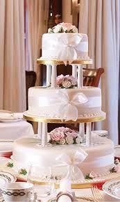 traditional looking wedding cake but created with patisserie