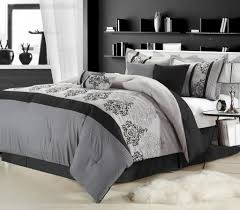 Brown And Blue Bedding by Bedroom Black And Gray Comforter With Sham On Grey Bed Frame With
