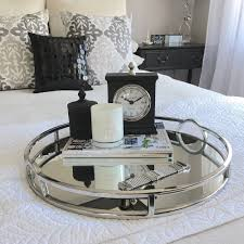 silver coffee table tray round silver mirror tray with arch handle xlarge humble home