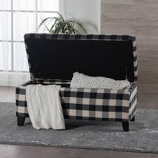 matteo plaid pattern fabric square storage ottoman bench by