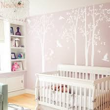 Wall Decals Baby Nursery Five White Tree Wall Decal Vinyl Stickers Birds Decals Baby