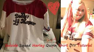 squad harley quinn shirt diy tutorial youtube