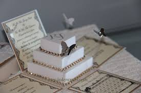 wedding invitations in a box lace exploding box wedding invitations w square cake jinkys crafts