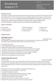 Sample Two Page Resume by A Professional Two Page Investment Analyst Cv Example Career