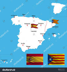 The Spain Flag Detailed Map Spain Indexes Major Cities Stock Vector 726250669