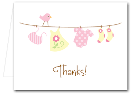 baby thank you notes pink baby laundry folded note cards thank you notes