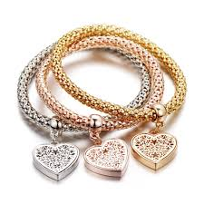 gold bracelet with heart charm images 1 set heart charm bracelets with austrian crystals pandoras box inc jpg