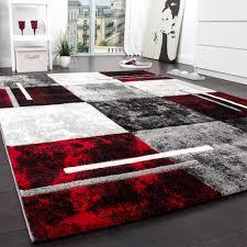 Wohnzimmer Design Schwarz Designer Teppich Modern Mit Konturenschnitt Karo Muster Grau
