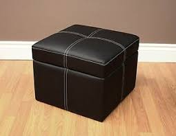 Soft Ottoman Home Cube Ottoman Sofa Seat Sit Bench Chair Furniture Black Soft