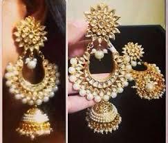 jhumki style earrings beautiful indian style pearl kundan bali jhumki earrings ebay