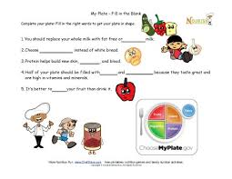 my plate healthy tips for kids fill in the blank my plate worksheet