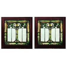Vintage Windows For Sale by Two Matching Antique Art Nouveau American Stained Glass Windows