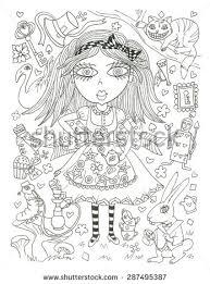 alice wonderland coloring sketch ink stock illustration