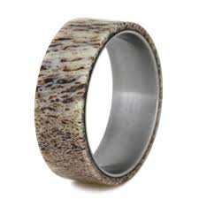 titanium mens wedding bands mens wedding band deer antler ring titanium band