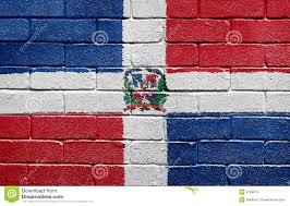 Domenican Flag Flag Of Dominican Republic On A Brick Wall Stock Illustration