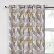 delta grey u0026 yellow luxury lined eyelet curtains pair julian