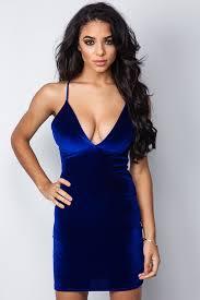 blue bodycon dress blue v front velvet bodycon dress at misspap co uk